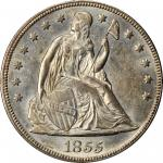 1855 Liberty Seated Silver Dollar. MS-62 (PCGS). Secure Holder.