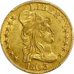1803/2 Capped Bust Right Half Eagle. BD-4. Rarity-4. Perfect T, 3 Touches Bust. MS-61 (PCGS).
