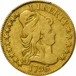 1796/5 Capped Bust Right Half Eagle. BD-1, the only known dies. Rarity-4+. VG-10 (PCGS).