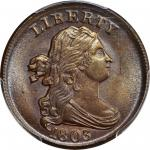 1803 Draped Bust Half Cent. C-1. Rarity-1. MS-63 BN (PCGS). CAC.