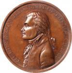 1801 Thomas Jefferson Indian Peace Medal. Small Size. Bronzed Copper. 52 mm. Julian IP-4. Specimen-6