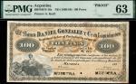 Banco Daniel Gonzalez y Compa en Liquidacion, Argentina, specimen 100 pesos, 188-, black on orange,