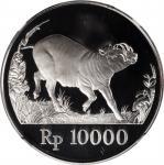 1987年印度尼西亚10000盾精制币。INDONESIA. 10000 Rupiah, 1987. NGC PROOF-69 Ultra Cameo.
