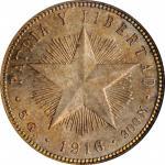 CUBA. 20 Centavos, 1916. Philadelphia Mint. NGC MS-64.
