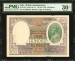 INDIA. British Administration. 100 Rupees, ND (1917-30). P-10a. PMG Very Fine 30 Net. Spindle Hole a