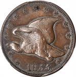 1855 Pattern Flying Eagle Cent. Judd-168 Original, Pollock-193. Rarity-5. Bronze. Plain Edge. Proof-