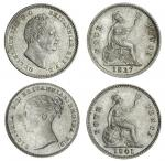 William IV (1830-37), Fourpence, 1837, wiry hair (ESC 2520 {1922}; S.3837); another, Victoria (1837-