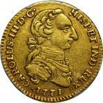 COLOMBIA. 1771-VJ 2 Escudos. Santa Fe de Nuevo Reino (Bogotá) mint. Carlos III (1759-1788). Restrepo