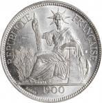1900-A年坐洋壹圆银币。巴黎造币厂。 FRENCH INDO-CHINA. Piastre, 1900-A. Paris Mint. PCGS Genuine--Cleaned, Unc Deta