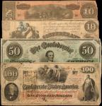 Lot of (4) T-28, 41, 50 & 68. Confederate Currency. 1861-64 $10, $50 & $100. Very Fine.