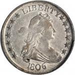 1806 Draped Bust Half Dollar. O-119a, T-27. Rarity-3. Pointed 6, Stem Through Claw. AU-53 (PCGS).