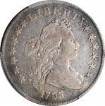 1798 Draped Bust Silver Dollar. Heraldic Eagle. BB-125, B-8. Rarity-2. Pointed 9, 4 Berries. VF Deta