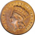 1864 Three-Dollar Gold Piece. AU-58 (PCGS).