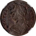 1787 Connecticut Copper. Miller 33.17-r.1, W-3625. Rarity-1. Draped Bust Left. AU-58 (NGC).