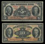 Canada. Dominion Bank Pairing.  $10. January 2, 1935. PS-1034. Black on yellow, pink and orange. Dan