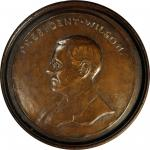 1918 President Woodrow Wilson Portrait Plaque. Uniface. Bronze. 200 mm, mounted into a 245 mm round