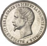 FRANCE Second Empire / Napoléon III (1852-1870). Essai de 5 francs tête nue par Bouvet 1853, Paris.