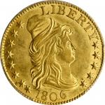 1806 Capped Bust Right Half Eagle. BD-1. Rarity-4. Pointed 6, Stars 8x5. MS-62 (PCGS). CAC.