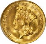 1874 Three-Dollar Gold Piece. MS-65 (PCGS).