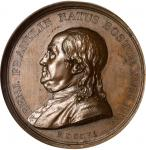 1786 (1845-1860) Benj. Franklin Natus Boston Medal. Paris Mint Restrike. Bronze. 46 mm. Greenslet GM