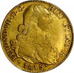 COLOMBIA. 8 Escudos, 1815-JF. Bogota Mint. PCGS Genuine--Cleaned, VF Details Gold Shield.