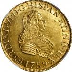 PERU. 8 Escudos, 1759-LM JM. Lima Mint. Ferdinand VI. NGC AU-58.