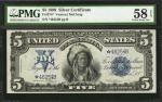 Fr. 274*. 1899 $5 Silver Certificate Star Note. PMG Choice About Uncirculated 58 EPQ.