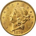 1870 Liberty Head Double Eagle. MS-61 (PCGS).
