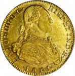 COLOMBIA. 1801-JJ 4 Escudos. Santa Fe de Nuevo Reino (Bogotá) mint. Carlos IV (1788-1808). Restrepo