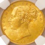 英国 (Great Britain) ヴィクトリア女王像 ヤングヘッド/楯図 1ソブリン金貨 1853年 KM736.1 / Victoria Young Head 1 Sovereign Gold