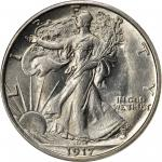 1917-S Walking Liberty Half Dollar. Obverse Mintmark. MS-64 (PCGS). CAC.