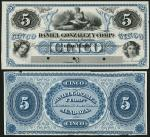 Daniel Gonzalez y Compa, Argentina, obverse and reverse proof for 5 pesos, 186-, blue on black, girl