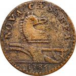 1786 New Jersey Copper. Maris 15-U, W-4830. Rarity-5+. Wide Shield, Leaning Head. VF-35, Porous.