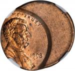 1998 Lincoln Cent--Struck 40% Off Center--MS-65 RB (NGC).
