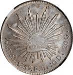 1859-Mo FH年墨西哥鹰洋壹圆银币。 墨西哥城造币厂。MEXICO. 8 Reales, 1859-Mo FH. Mexico City Mint. NGC MS-64.