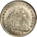 1799/8 Draped Bust Silver Dollar. BB-141, B-3. Rarity-3. 15-Star Reverse. MS-64 (PCGS).