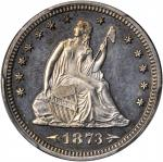 1873 Liberty Seated Quarter. Arrows. Proof-63 (PCGS).