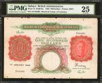 1942年1月1日马来亚货币发行局一佰圆。