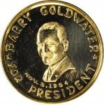 1964 Barry Goldwater for President Medal. Gold. 39 mm. 41.55 grams. 22 karat. Prooflike Mint State.