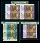 澳洲连体钞票3枚一组,包括5元双连体,10元双连体及另外5元四连体,双连体评PMG 64,四连体评65EPQ附原包装