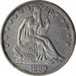 1880 Liberty Seated Half Dollar. WB-102. Type II Reverse. EF Details--Cleaned (PCGS).