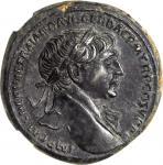 TRAJAN, A.D. 98-117. AE Sestertius (27.48 gms), Rome Mint, ca. A.D. 104/5-107. NGC AU, Strike: 4/5 S