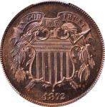 1872 Two-Cent Piece. Proof-65+ RB (PCGS).
