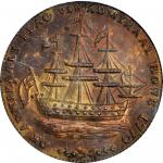 1778-1779 (Circa 1780) Rhode Island Ship Medal. Betts-563, W-1740. Wreath Below Ship. Brass. MS-64 (