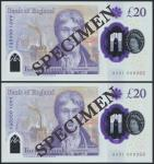 Bank of England, Sarah John, polymer £20, ND (20 February 2020), serial number AA01 000262/263, purp
