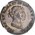 ITALY. Lucca & Piombino. 5 Franchi, 1807. NGC MS-61.