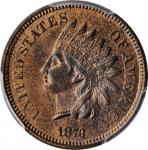 1873 Indian Cent. Close 3. MS-64+ RB (PCGS). CAC.