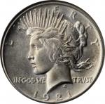 1921 Peace Silver Dollar. High Relief. MS-66 (NGC).