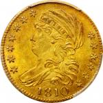 1810 Capped Bust Left Half Eagle. BD-4. Rarity-2. Large Date, Large 5. MS-63 (PCGS). CAC.