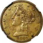 1849 California Gaming Counter. K-1. Rarity-1. Brass. 22 mm. AU-50 (NGC).